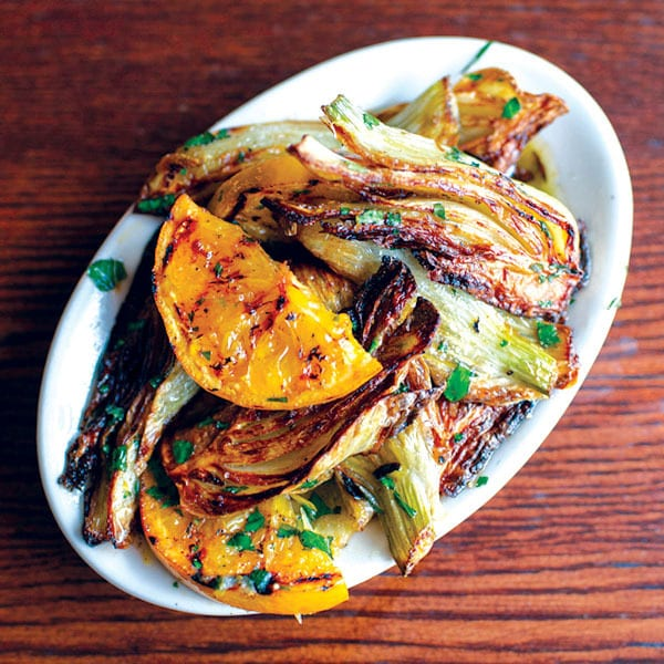 Finocchio Arrosto con Aranci <br> (roasted fennel with grilled oranges and basil)