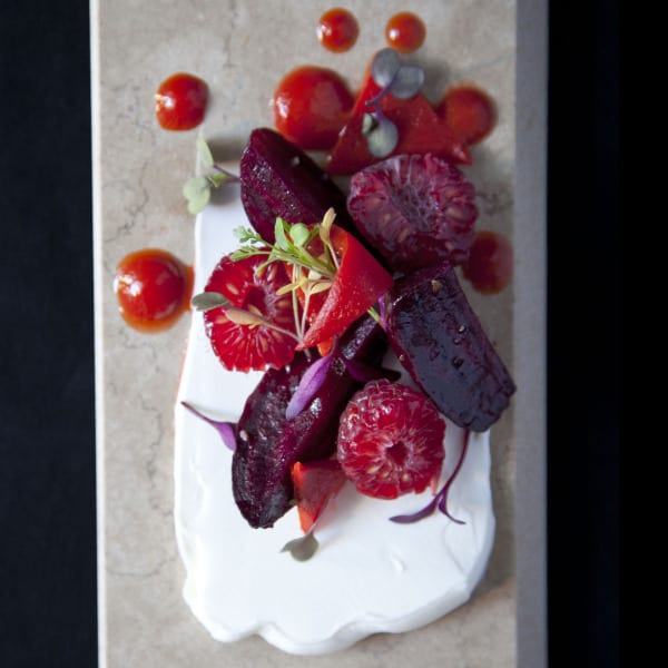 Salt-Roasted Beets with Piquillo Pepper and Raspberry Puree