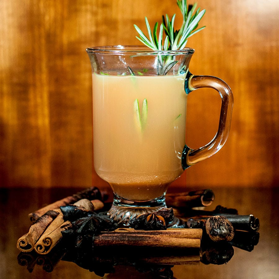 A rosemary apple cider hot toddy recipe