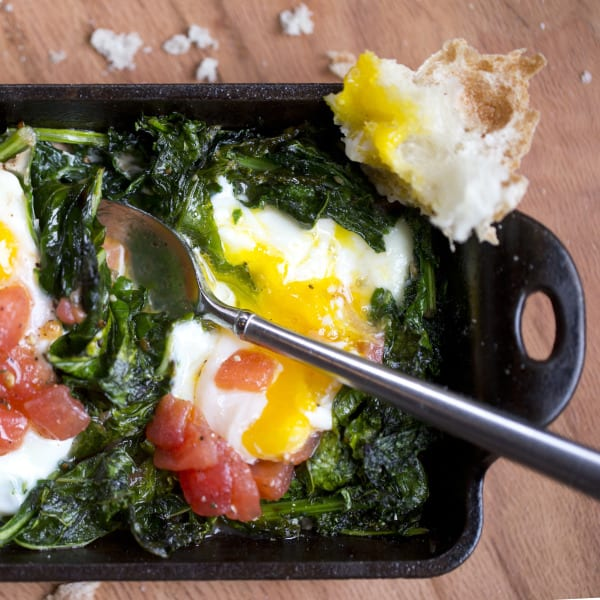 Baked Kale and Eggs
