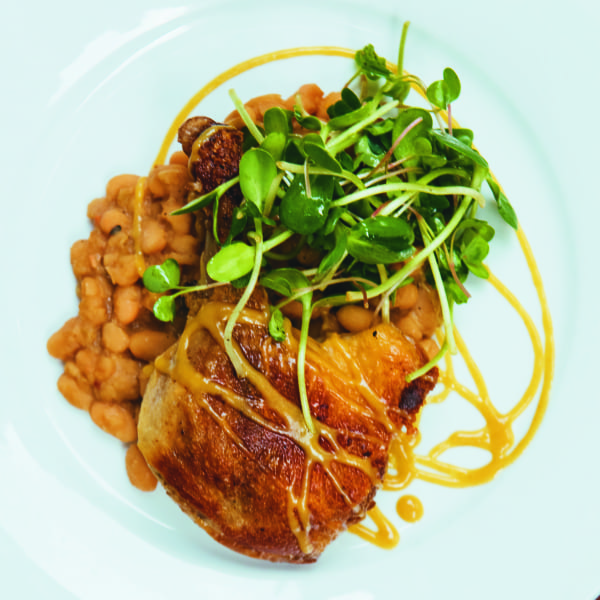 Duck Confit with Stewed White Beans and Bourbon Mustard