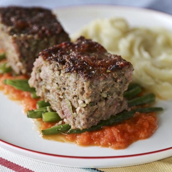 Meatloaf with Tomato-Habanero Gravy and Buttered Green Beans