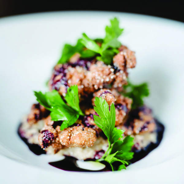Miso Fried Quail with Concord Grape Hot Sauce and Dirty Oats