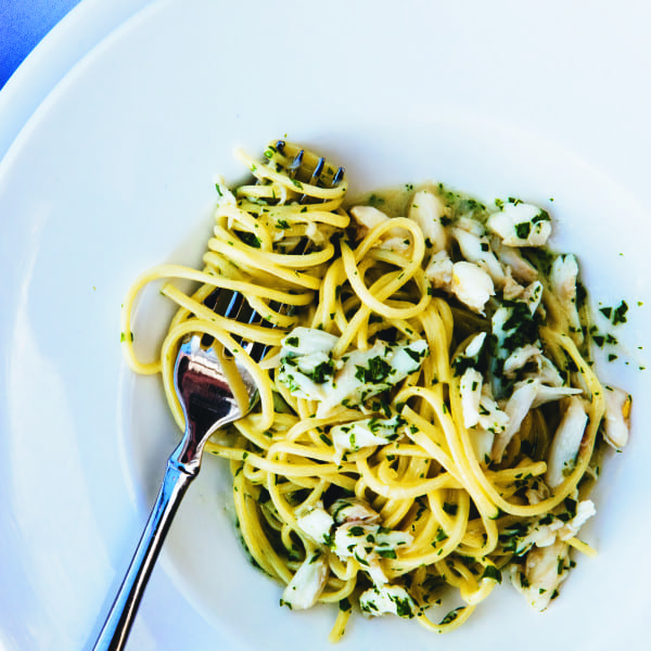 Thin Noodles with Blue Crab and Mustard Greens