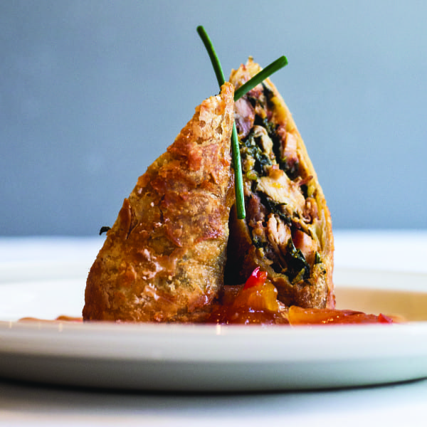 Down South Egg Rolls with Red Pepper Sauce, Spicy Mustard, and Peach Chutney
