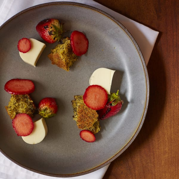 Olive Oil Poppy Seed Cake with Goat Cheese Panna Cotta and Fresh Berries