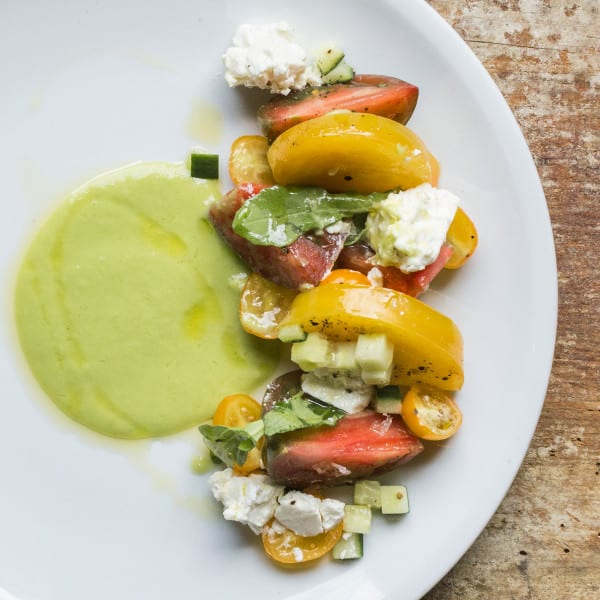 Heirloom Tomatoes with Cucumber Gazpacho