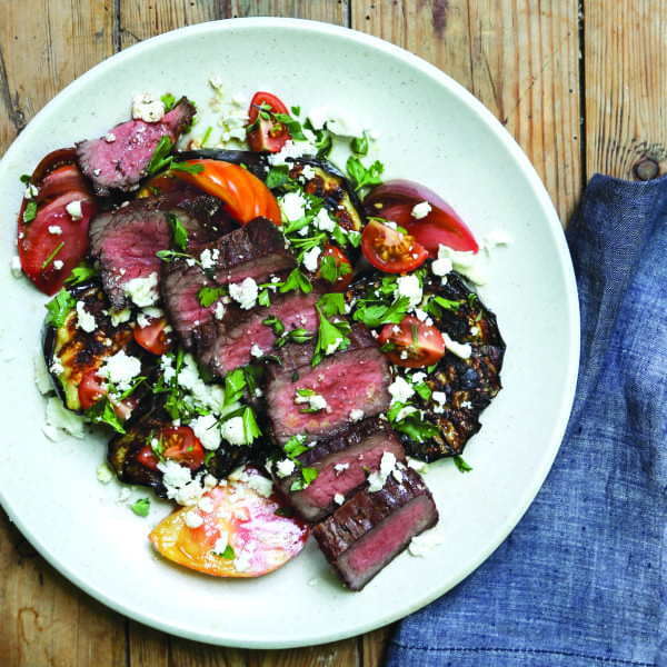Grilled Flank Steak and Eggplant with Heirloom Tomatoes, Herbs, and Feta