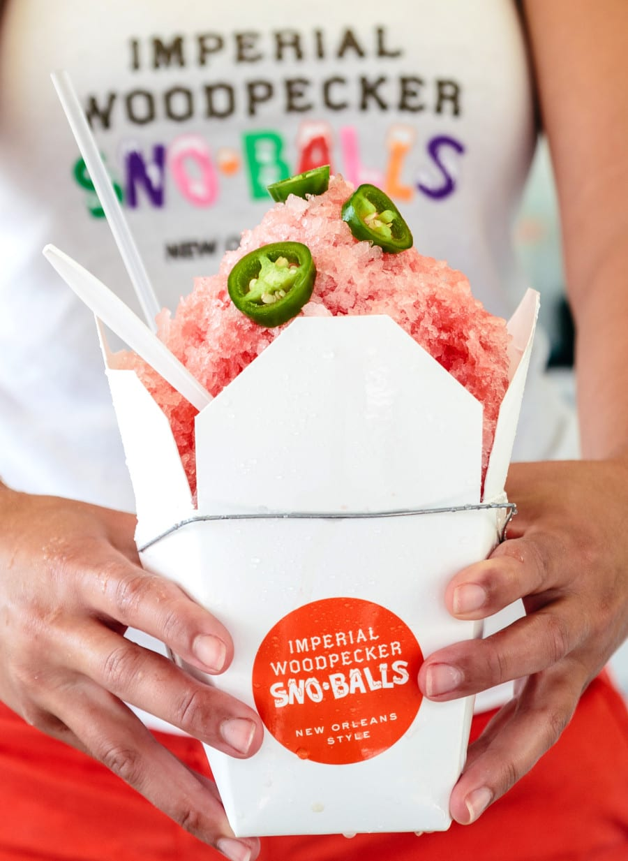 Strawberry Jalapeno Son Ball at Imperial Woodpecker Sno Ball stand in downtown New Orleans.