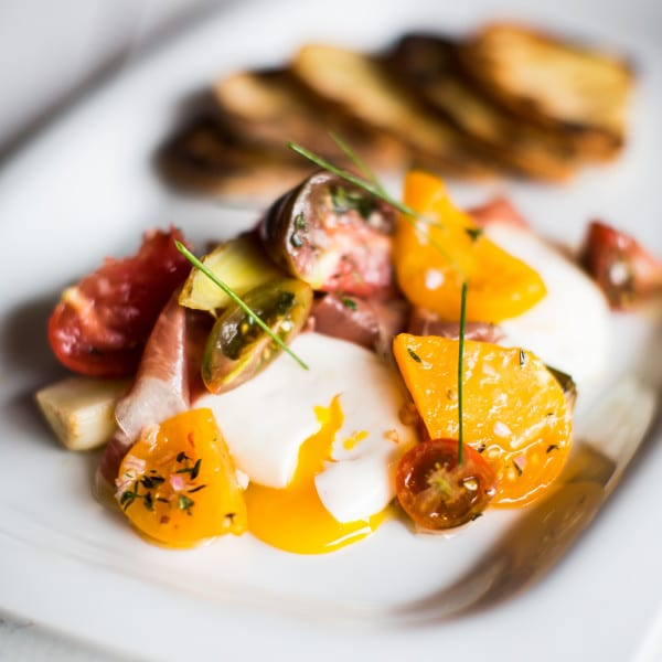 Tomatoes, Leeks, Smoked Ham, and Poached Eggs