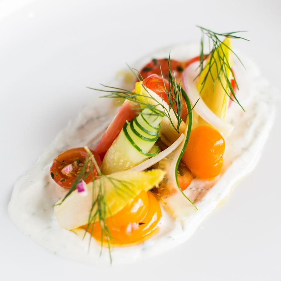 Tomatoes with Herbed Fromage Blanc from Chef Rene de Leon of Le Sel in Nashville, TN / Key Ingredient