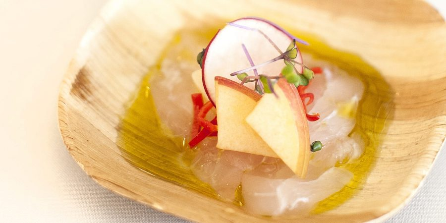Crudo of Snapper from Chef Michael Kramer of The Lazy Goat in Greenville, SC