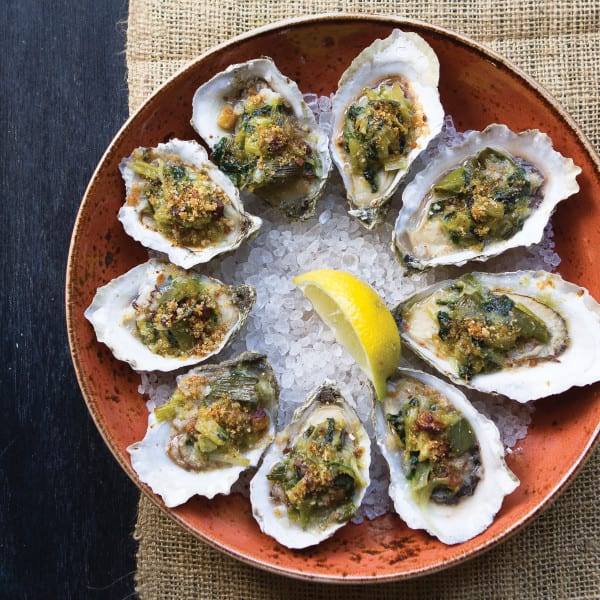Baked Rappahannock River Oysters with Melted Leeks, Bacon, and Preserved Lemon