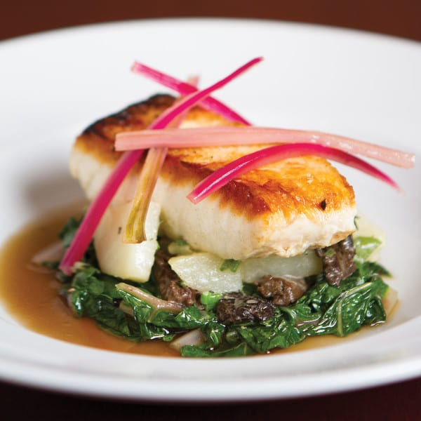 Seared Penobscot Bay Halibut with Potatoes, Morels, Swiss Chard, and Pickled Chard Stems