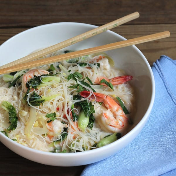 Shrimp with Coconut Broth and Rice Noodles
