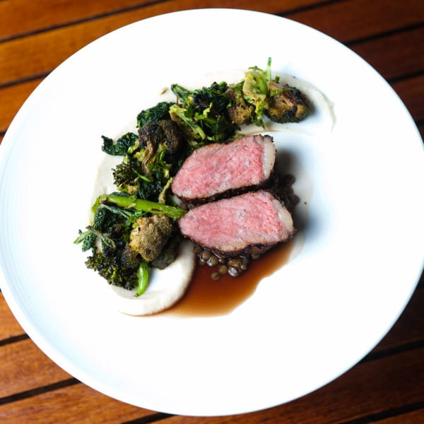 Coffee Rubbed Manhattan Strip with Cruciferous Vegetables & Monastrell Sauce