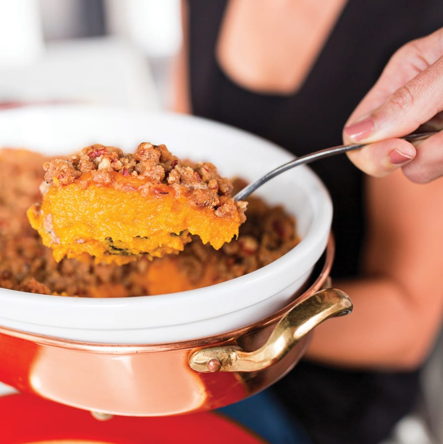 Roasted Butternut Squash with Pecan Sorghum Streusel