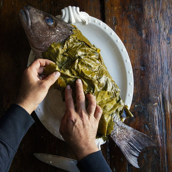 Whole Snapper Wrapped in Grape Leaves