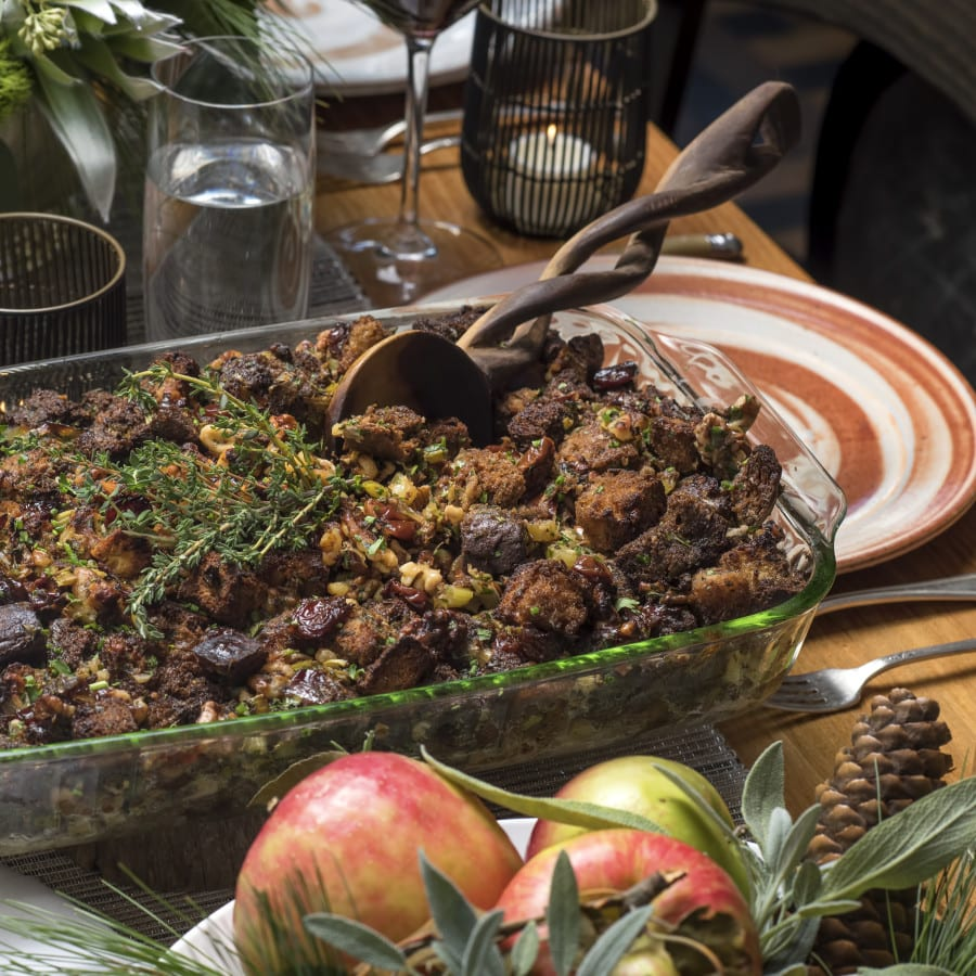 Brown Bread Stuffing with Dried Cherries,Leeks, and Walnuts