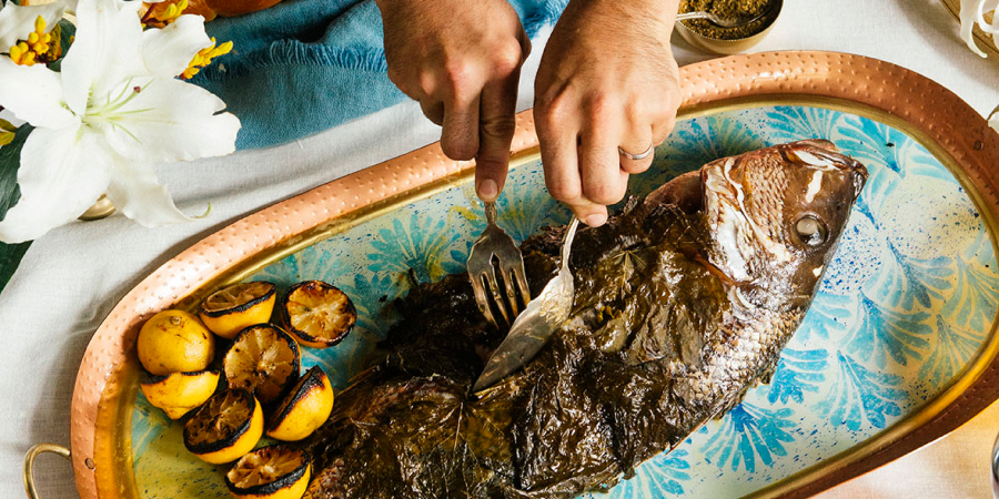 Whole BBQ Snapper Wrapped in Grape Leaves2
