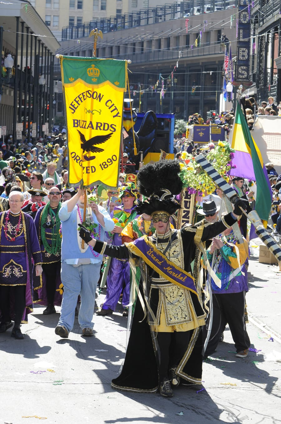 Revelers take to the streets during the Rex parade on Mardi Gras day in New Orleans, Louisiana, USA 14 February 2010.