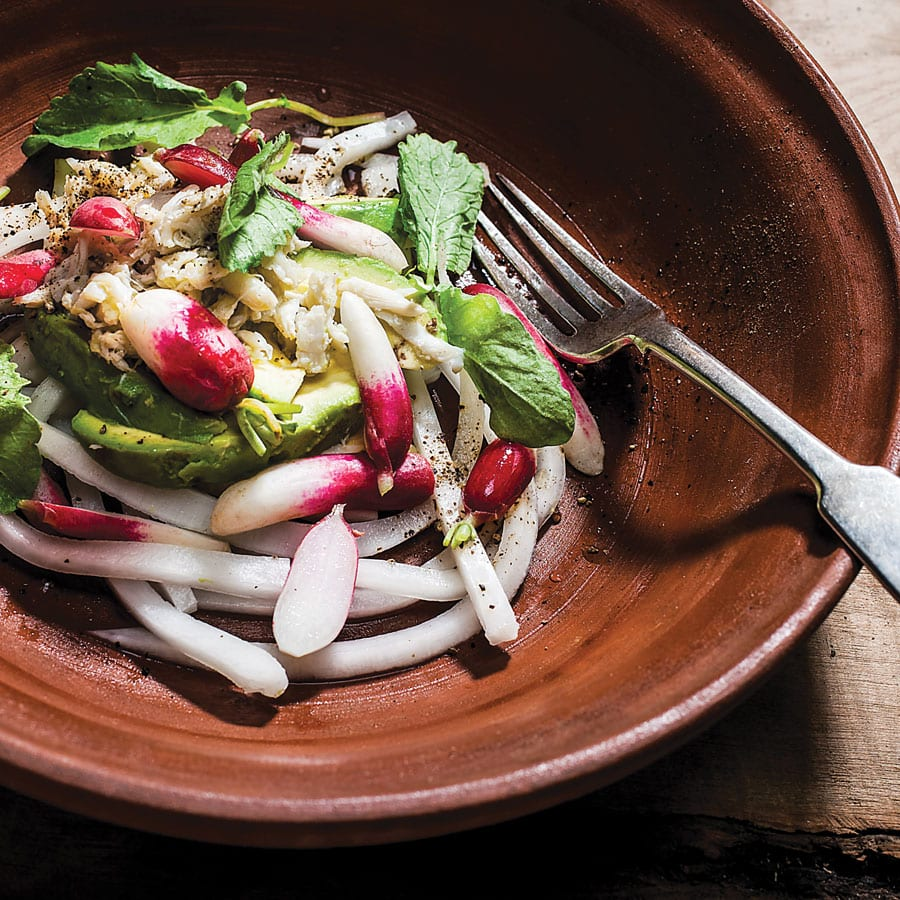 Crab, Avocado,<br> and Radish Salad