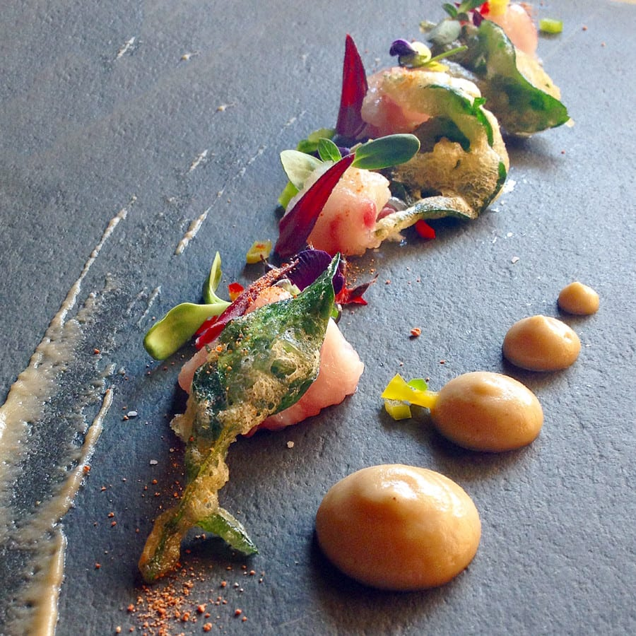 Grouper Crudo with Apples and Edible Flowers
