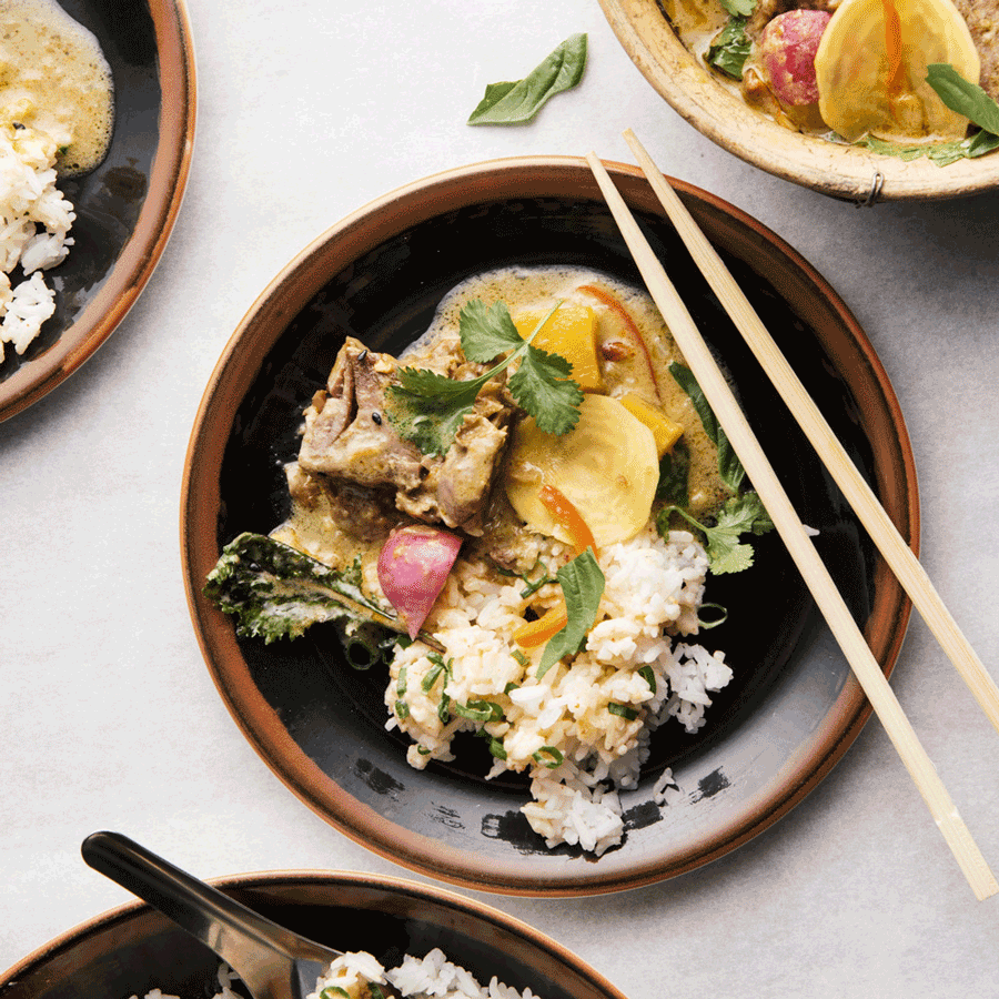 Roasted Spring Lamb in Green Curry with Baby Golden Beets