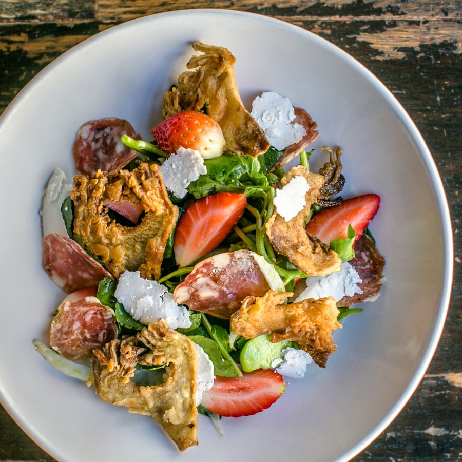 Fried Artichoke Watercress Salad