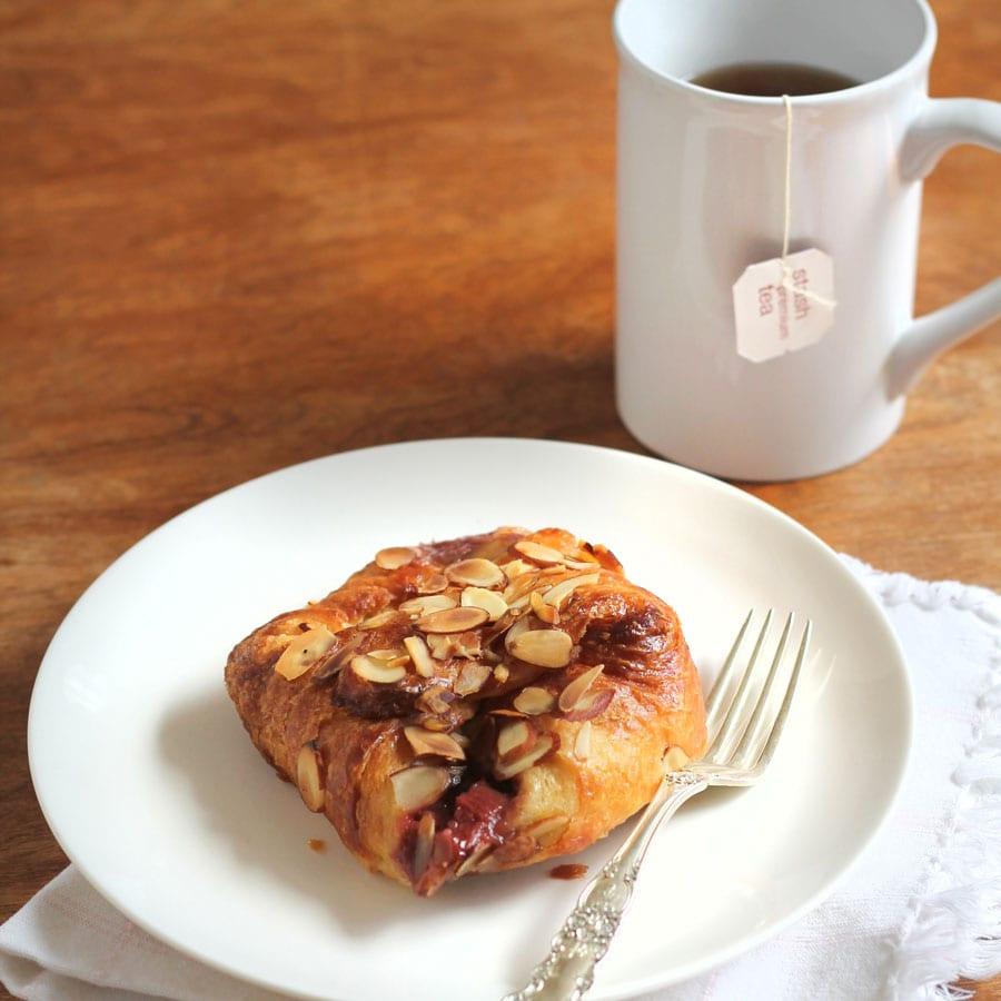 Strawberry Rhubarb Farmer's Cheese Danish