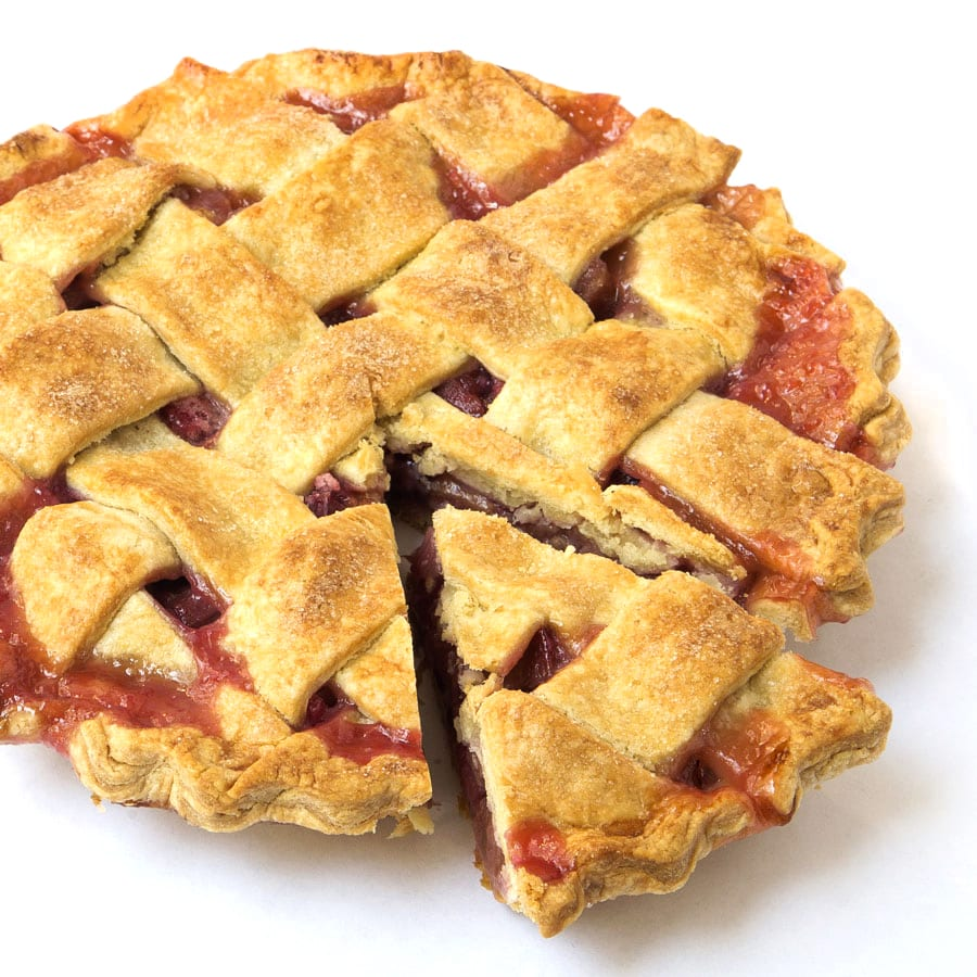 Lattice-Top Rhubarb Pie