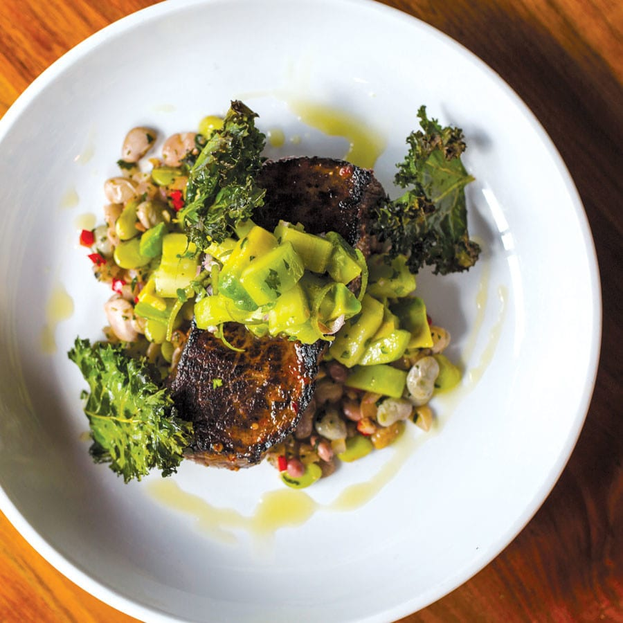 Strip Steak with Succotash, Grilled Avocado, and Cucumber Reish