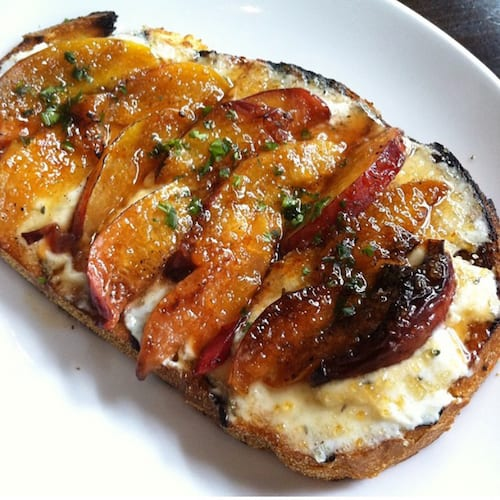 Brûléed Roasted Peach and Herbed Ricotta Bruschetta