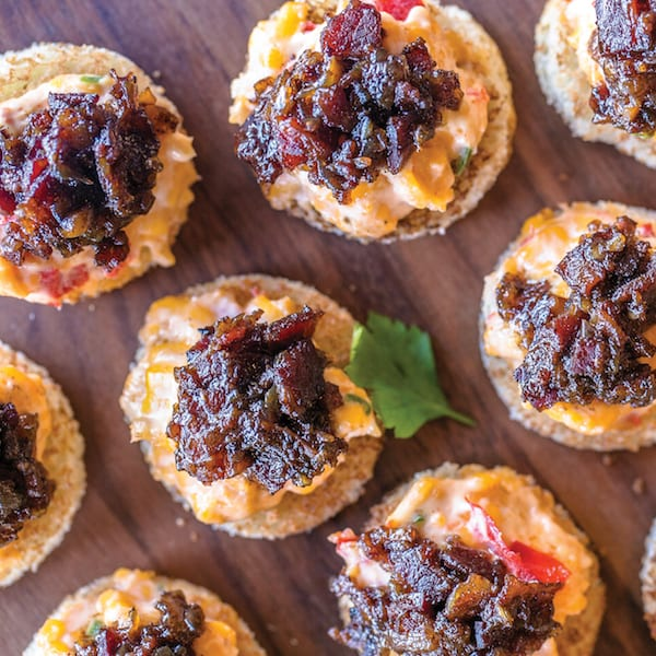 Pimento Cheese Toasts with Bacon Jam
