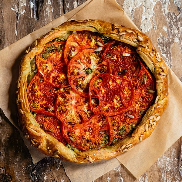 Creole Tomato Galette with Sunflower Seed Basil Pesto