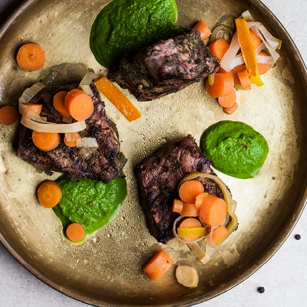 Grilled Lamb with Ramp  Chimichurri and Pickled Carrots