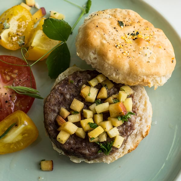 Black Pepper Thyme Biscuits with Sausage and Ginger Peach Relish