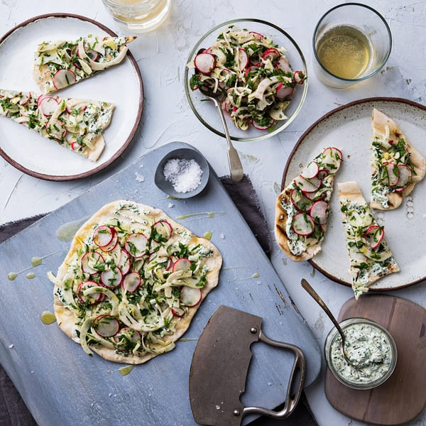 Charred Flatbread with Fennel, Radish, and Herbed Ricotta