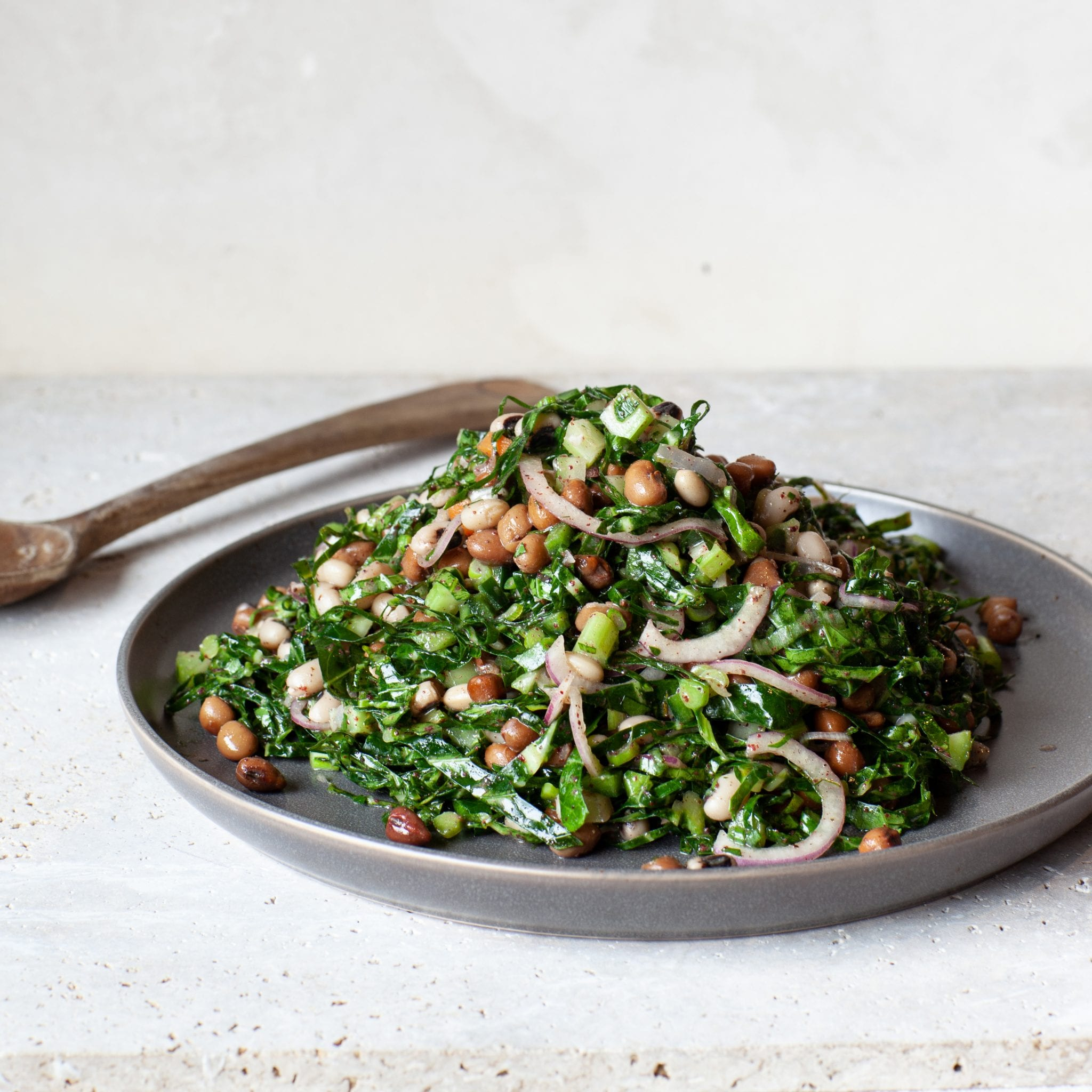 Collard Green and Field Pea Salad with Sumac Molasses Vinaigrette