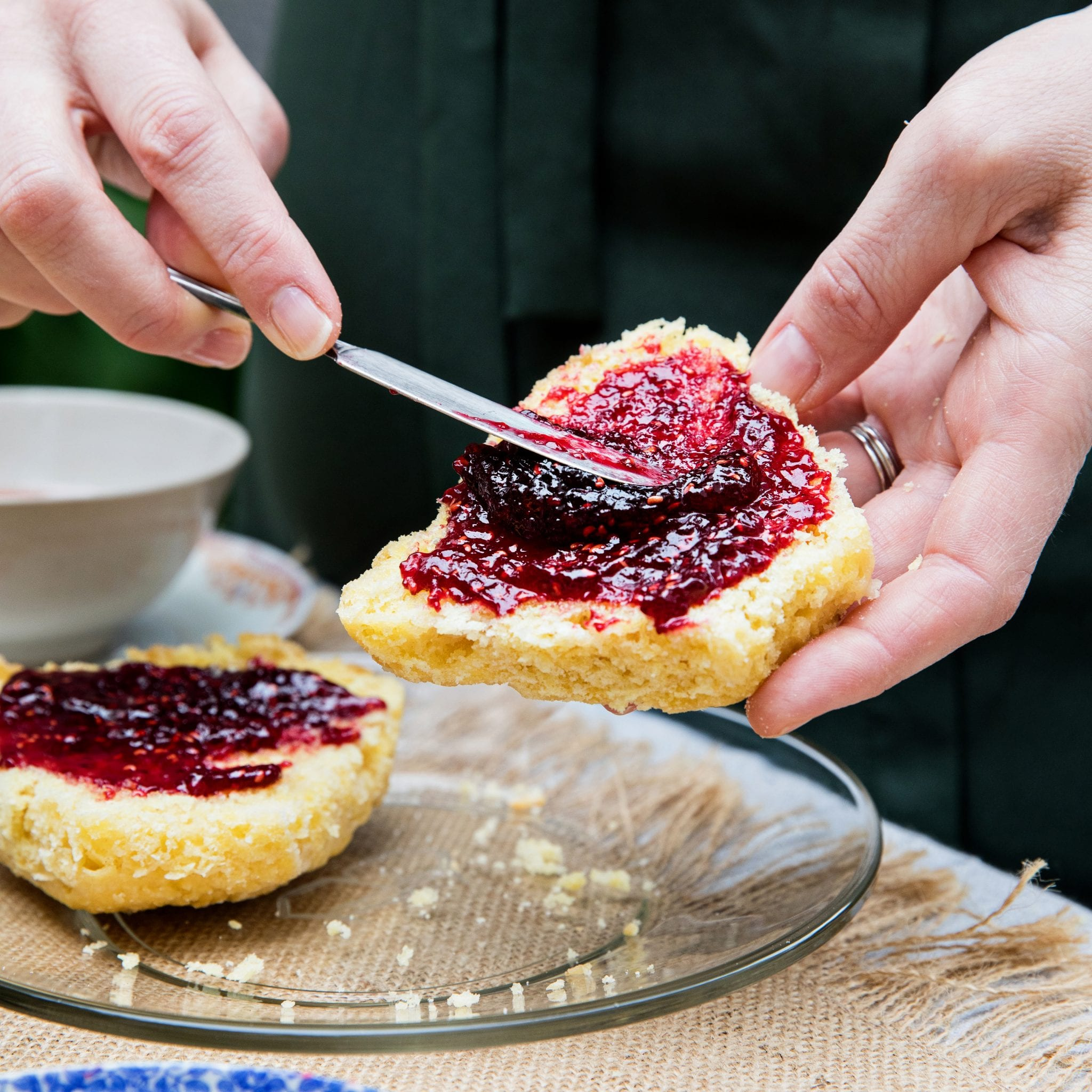 Scottish Scones with Honey Butter and Raspberry Skillet Jam
