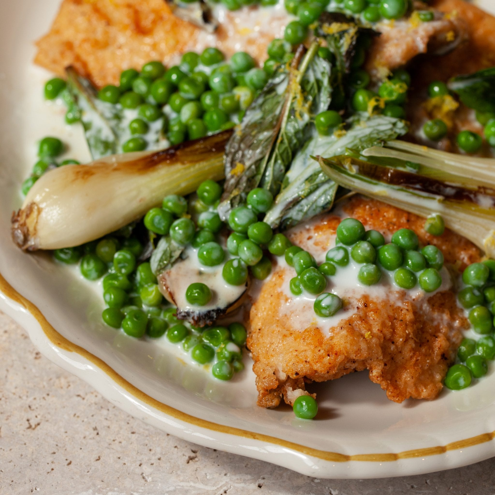 Cornmeal-Fried Trout with Spring Peas, Onions, and Nettles