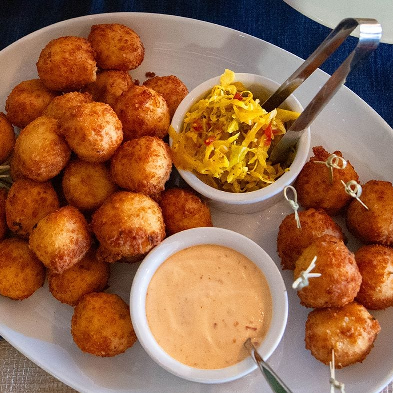 Cheddar Fritters with Chow Chow and Spicy Aioli