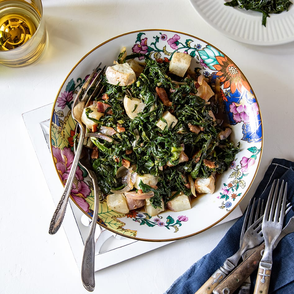 Roasted Turnips with Wilted Greens