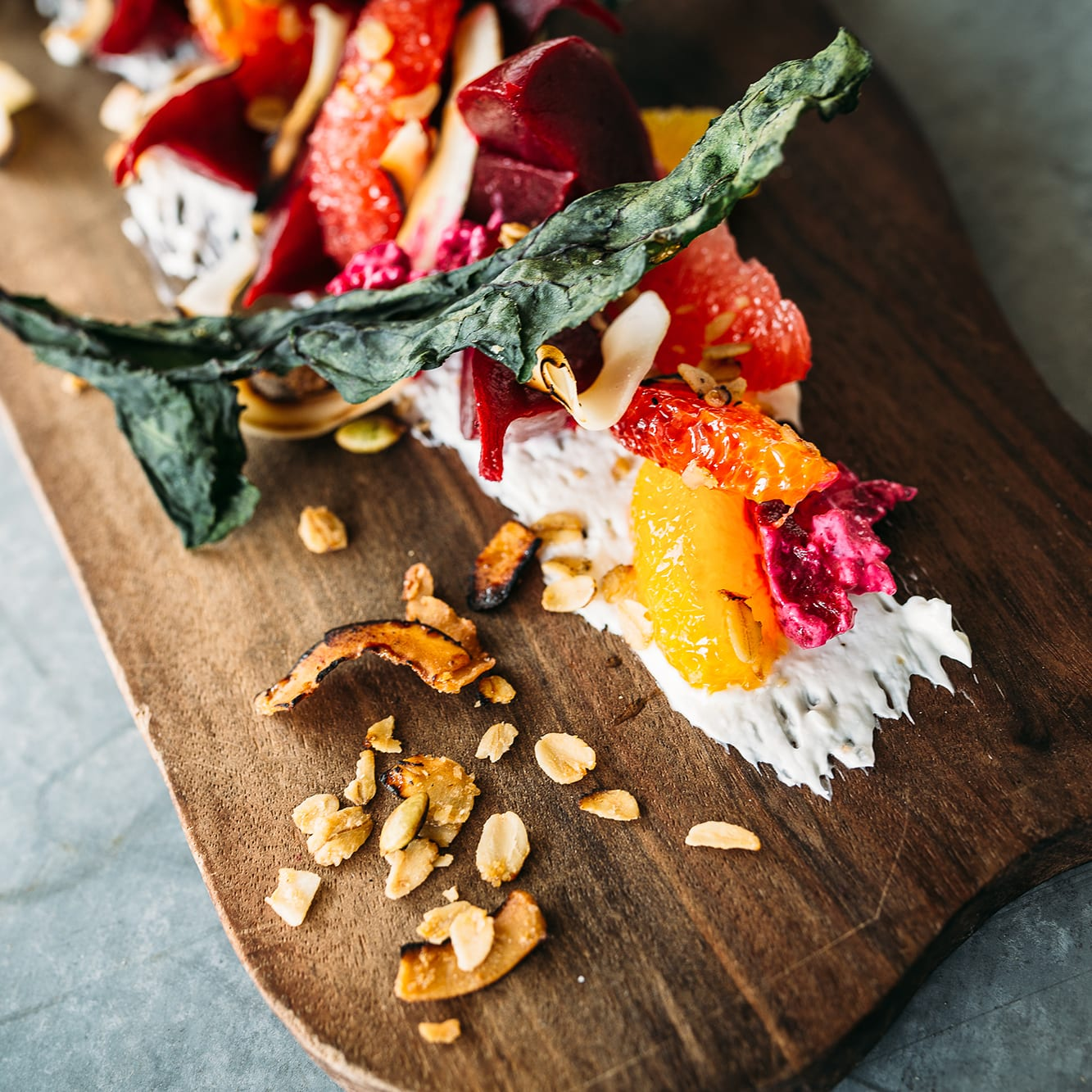 Roasted Beet Ambrosia, Farmstead Cheese, Texas Citrus, Burnt Coconut Granola