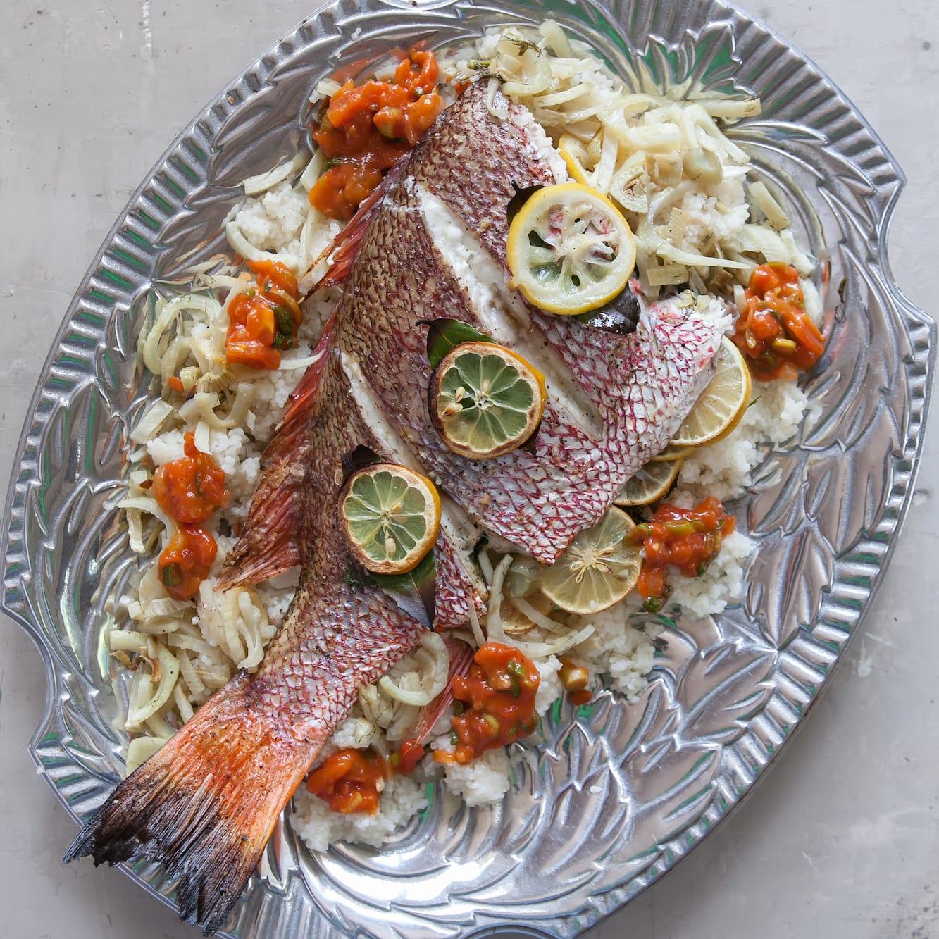 Herb-Roasted Whole Fish with Middlins and Tomato Gravy