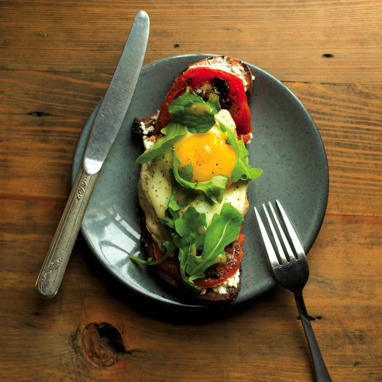 Roasted Tomato Toast with Fried Egg and Bacon Marmalade