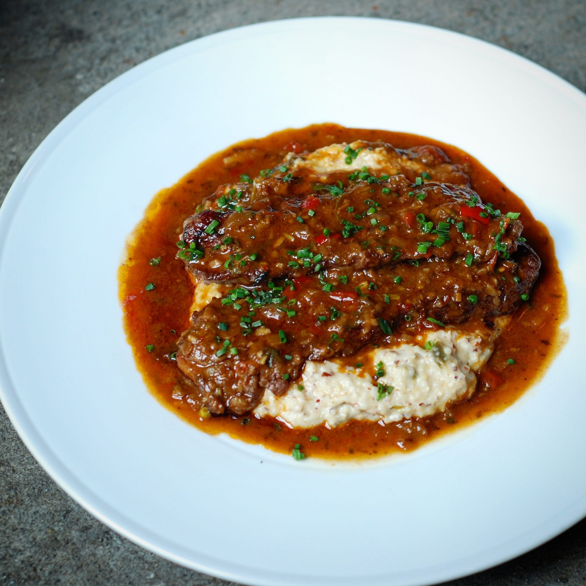Pork Grillades and Cheesy Grits