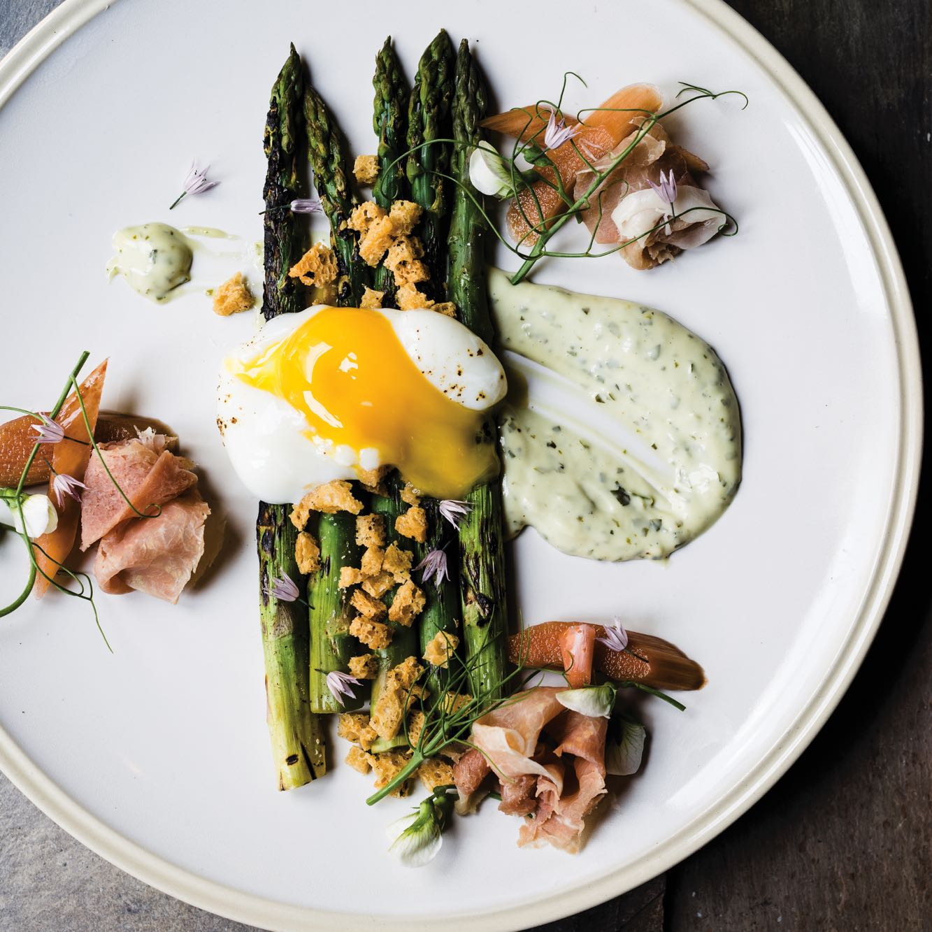 Roasted Asparagus with Green Goddess Dressing and Pickled Rhubarb