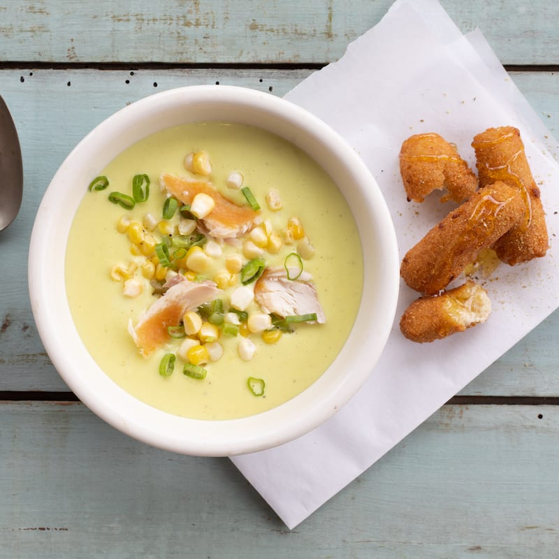 Hot Smoked Trout and Sour Corn Chowder