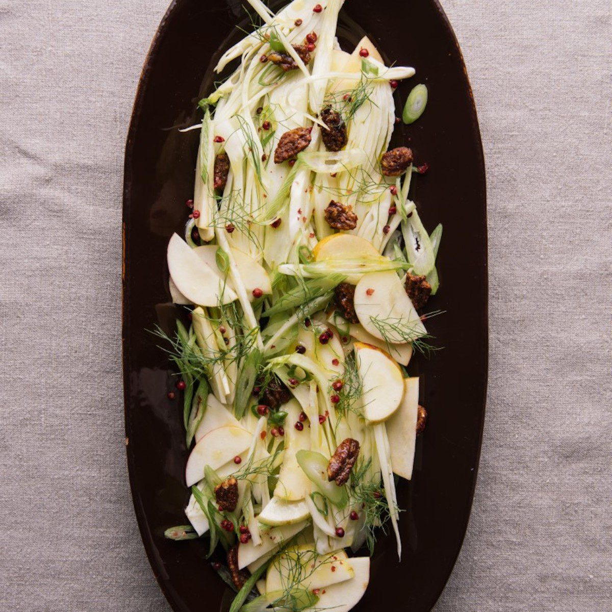 Apple and Fennel Salad and Candied Pecans